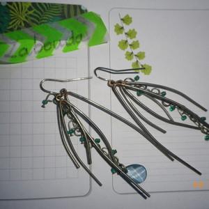 boucle d'oreilles pendantes argentées et bleues
