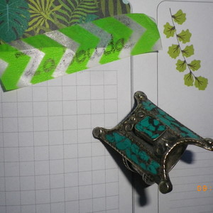 bague argentée et turquoise