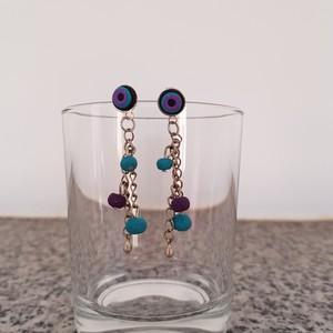 Boucles d'oreilles violette/turquoise