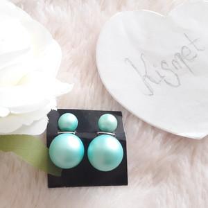 Boucles d'oreille perles bleues mattes