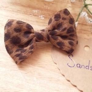 Barette pour cheveux noeud léopard