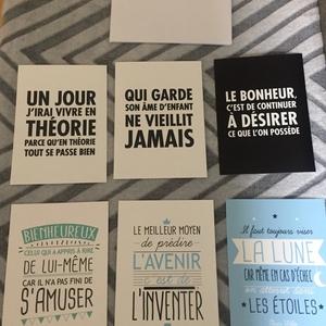 Lot de 5 cartes postales à messages