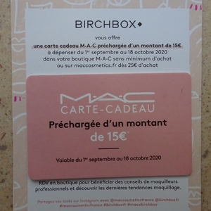Carte cadeau MAC - Valable 31/10/20