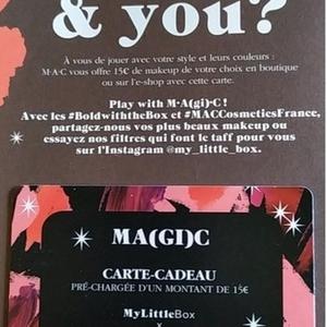 Carte MAC créditée de 15€ valable jusqu'au 19 janvier