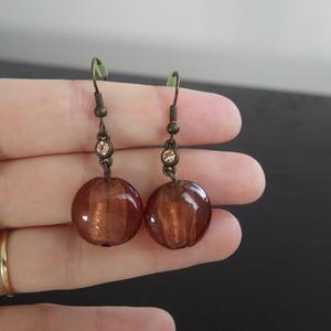 Boucles d'oreilles marron ambre