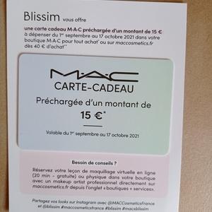 Carte cadeau MAC 15 euros