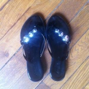 Sandales noir & argent vernis