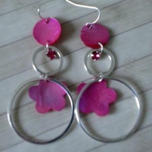 Boucles d'oreilles Fleurs rose