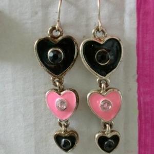 Boucles d'oreilles Coeur Noir et Rose