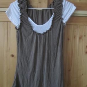 T shirt kaki blanc T 34 36
