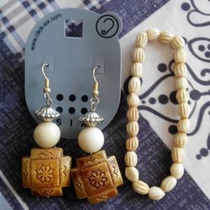 Boucle d'oreille+bracelet effet bois