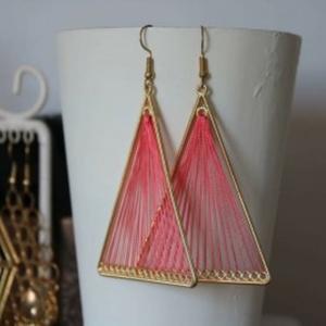 Boucles d'oreilles rose et doré
